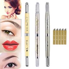 DRIBET floral microblading manual pens with blades Tattoo Set, Eyebrow Tattoo, Permanent Makeup, Pens, Eyebrows, Blade, Manual, Lipstick, Floral