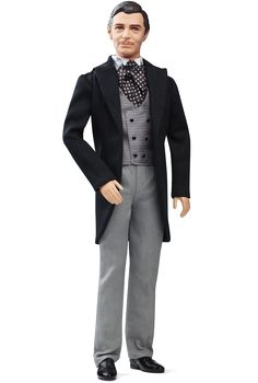 The RHETT BUTLER portrait doll is sculpted in the likeness of Clark Gable and wears a re-creation of the suit he wore when he first met Scarlett at Twelve Oaks.