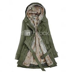 [EUR € 45.04] Sudadera con capucha gruesa Parka con cinturón Abrigo de invierno de las mujeres