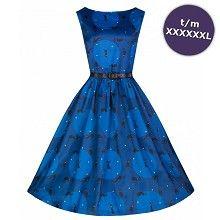 Swing Audrey jurk met katten print blauw - Vintage, 50's, Rockabilly