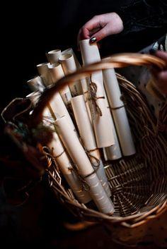 Cozy, Rustic, Christmas Wedding  Basket with programs in it