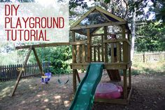 Build your own wooden playground! Includes materials list, photos and step-by-step instructions!