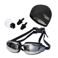 Professional Swim Glasses with Swim Caps Earplugs Nose Clip Set