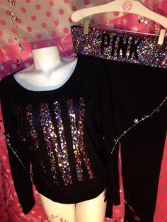 RARE! NWT Victoria's Secret PINK Rainbow Yoga Pants BLiNG Sequin Shirt Set Sz: L