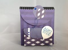 Backpack as gift bag, using Stampin'Up! Balloon Bouquet Punch and Pacific Point Inkpad.