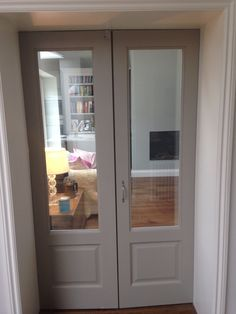 My Interior glazed doors painted hardwick white Farrow & Ball - August 19 2019 at Interior Glazed Doors, Double Doors Interior, Gray Interior, Interior Doors, Wooden Door Paint, Painted Doors, Wooden Doors, Porch Doors, Windows And Doors