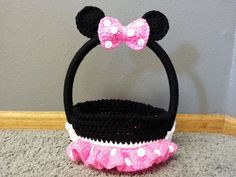 Crochet Girl Mouse Multi Purpose Basket Easter Halloween Home Decor OR Great For A Nursery - pinned by pin4etsy.com