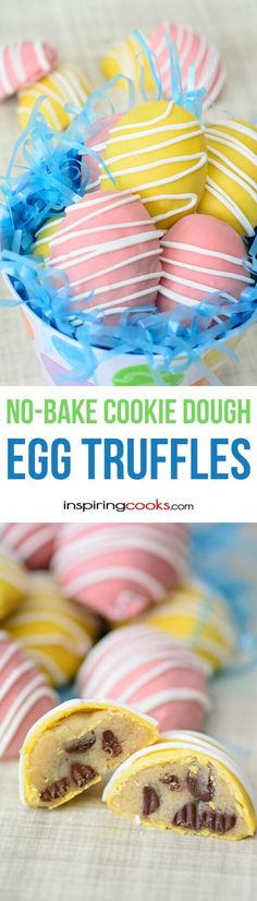 No-Bake Cookie Dough Egg Truffles Recipe - these are so easy and fun to make and so pretty! My 11 year-old daughter loves to make these.