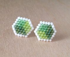 Brick stitched seed bead earrings, with surgical steel post (rubber back also included). Also available in blue or dark shades. Handmade using