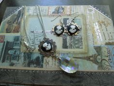 Love it!! Classic plus retro funk!  Gear+cameo+and+diamond+earring+and+necklace+set+by+LovelieDesigns,+$16.00
