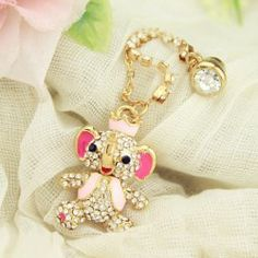 $4.48 Sweet Rhinestoned Calf Elephant Shape Cellphone Dustproof Plug For Women