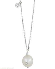 This radiant Necklace belongs on display around your neck. Cubic Zirconia, Pearl, Sterling Silver.