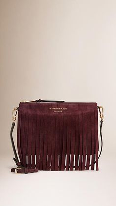 Elderberry House Check Clutch Bag with Suede Fringe - Image 1