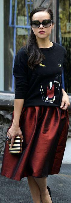 #Red #Midi #Skirt by Moda capital