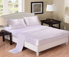 UNIKEA White Satin Bed Sheet Set Wrinkle Free Super Silky Soft Luxury Flat Sheet Fitted Sheet & Pillowcase Twin Full Queen King