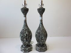 Pair Of Vintage, Mid-Century Modern Lamps With A Heavy Lava Glaze Finish. by FLORIDAMODERN on Etsy