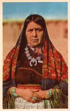 Woman from Zuni Pueblo in New Mexico  wearing the tradtional dress.