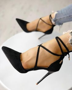 Point Toe Chains Lace-up Thin High Heels Stiletto Pumps, Pumps Heels, Heeled Sandals, Bandage, Suho, Shoes World, Shoe Shop, Chunky Heels, Criss Cross