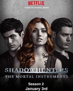 Missing this is a throwback picture and Shadowhunters isn't available on Netflix in the US Clary Fray, Clary Und Jace, Shadowhunters Poster, Shadowhunters The Mortal Instruments, Dominic Sherwood, Jace Wayland, Matthew Daddario, Vampires, Netflix Recommendations