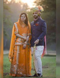 New Bridal Dresses, Wedding Dress Men, Indian Bridal Outfits, Indian Men Fashion, Indian Bridal Fashion, Indian Fashion Dresses, Rajasthani Bride, Rajasthani Dress, Indian Wedding Couple Photography