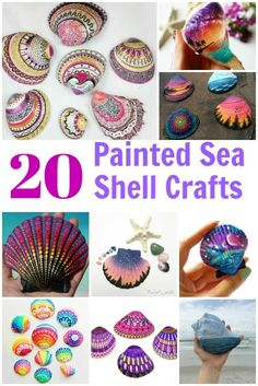 Get inspired with 20 painted sea shell crafts and shell designs. It's easy to decorate your favorite shells and turn them into beautiful shell art. Get inspired and learn the best supplies to use. Arts And Crafts For Teens, Art And Craft Videos, Crafts For Seniors, Seashell Painting, Seashell Art, Painting On Shells, Arts And Crafts Movement, Art Craft Store, Craft Stores