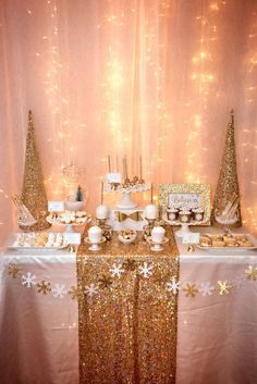 Gold Christmas party dessert table! See more party planning ideas at…