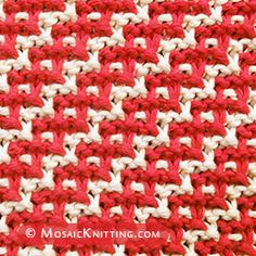 Mosaic Slip-stitch knitting: Diagonal Chain stitch. Used two color. Skills: Cast on, knit, slip stitches purlwise, bind off.