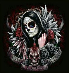 Skull Girl Tattoo, Sugar Skull Tattoos, Sugar Skull Girl, Sugar Skulls, Sugar Skull Artwork, Aztecas Art, Day Of The Dead Artwork, Day Of The Dead Girl, Catrina Tattoo