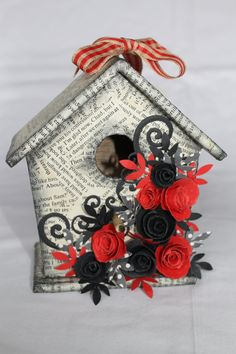 Red/ Black Decoupaged Decorative Birdhouse by CandycatCreations, £6.00
