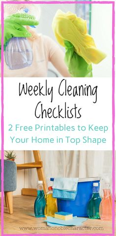 Two free weekly cleaning checklists/printables to help you keep on top of your weekly cleaning. My favorite cleaning products and how to keep up on the weekly house cleaning Weekly House Cleaning, Weekly Cleaning Checklist, Cleaning Schedules, Speed Cleaning, Cleaning Hacks, Home Organization Hacks, Organizing Tips, Homemade Cleaning Products, Homemaking