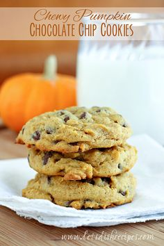 Chewy Pumpkin Chocolate Chip Cookies | The secret to chewy pumpkin cookies? Using the pumpkin as an egg replacement! These pumpkin chocolate chip cookies taste more like cookies and less like little cakes. Delicious!