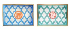 Painted monogram trays