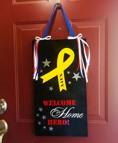 Welcome Home Hero Deployment Military Wooden Vinyl Sign for Army Navy Marines Air Force