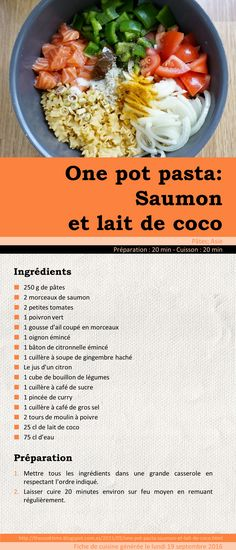 One pot pasta: Saumon et lait de coco