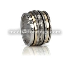 This spool gold & silver Meditation Ring is gorgeous! By MeditationRings Meditation Rings, Spinner Rings, Ring Designs, Spinning, Jewellery, Pretty, Silver, Gold, Rings