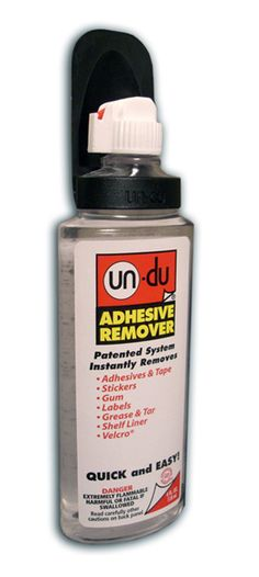 UN-DU Adhesive Remover -  4oz This stuff is great!  It removes oopsies on scrapbooking (like wrong sticker placement). Am using now to un-do some hot melt glue.  Unfortunately, I'm out!