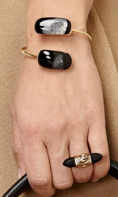 Natural black agate stone open bracelet and ring.