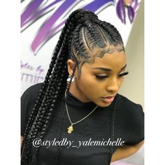 @styledby_yalemichelle follow to book feedin braids feedin braids ponytail