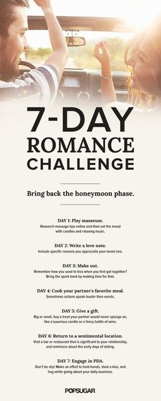 To make sure you don't turn into that couple who sits silently, staring across the table during a date-night dinner, take this fun and flirty seven-day romance challenge. Relationship Challenge, Marriage Relationship, Marriage Proposals, Happy Marriage, Marriage Advice, Love And Marriage, Stages Of A Relationship, Successful Relationships, Strong Marriage