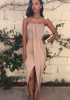 Khaki Plain Bandeau Sexy Boat Neck Cotton Dress - Maxi Dresses - Dresses #streetstyle