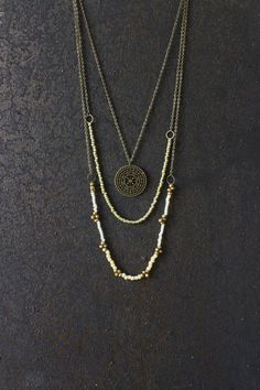 AnankeJewelry Layered necklace, boho necklace, hippie necklace, mandala necklace, boho jewelry, bohemian necklace, vintage necklace, unique jewelry, multi strand, brass necklace, my style, women fashion, gypsy jewelry