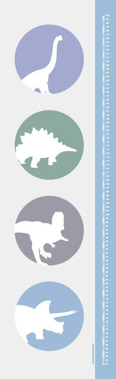 Raaawr  Dinosaurs Modern Growth/ Height Chart by giraffesnstuff