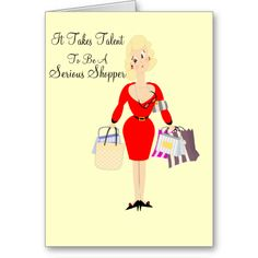 A Unique Design Funny Birthday Card Showing Lady Carrying Her Shopping Great Choice