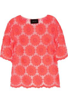 Neon embroidered organza T-shirt by Simone Rocha