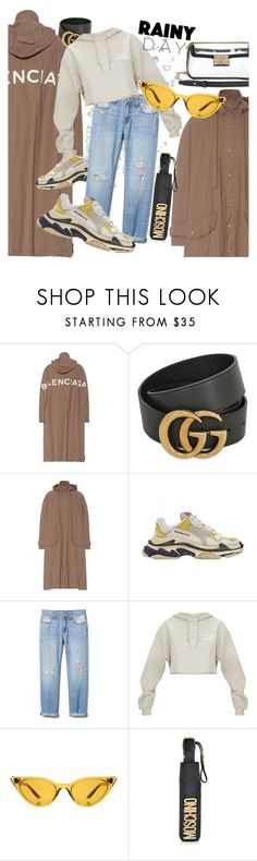 """""""Puddle Jumper: Rainy Day Outfit"""" by shimabastam ❤ liked on Polyvore featuring Balenciaga, Gucci, Illesteva, Moschino, Chanel, rainydayoutfit and polyvorefashion"""