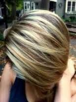 Image result for blonde highlights on SHORT brown hair CONCAVED BOB