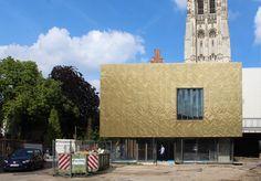 creased copper cladding. import Export Architecture , Mechelen theatre