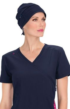 8085b6ea7be The navy Koi surgical scrub hat is both stylish and practical. The material  used is