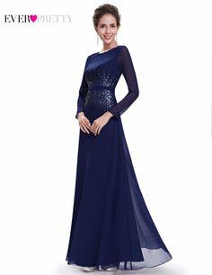 $74.99 | Full Length Navy Blue Formal Mother Of Bride Mother Dresses EP08635NB  Sequins Elegant Round Neck Long Sleeve Evening Dress