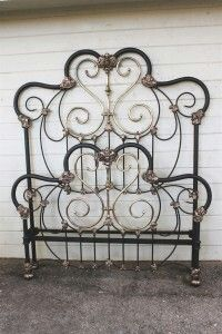 Iron and brass bed frame